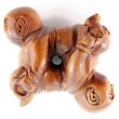 handcarved boxwood ojime bead of Buddha babies