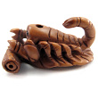 handcarved boxwood ojime bead of scorpion
