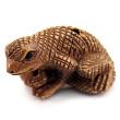 handcarved boxwood ojime bead of iguana