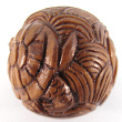 handcarved boxwood ojime bead of turtle ball