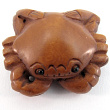 handcarved boxwood ojime bead of crab