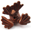 handcarved boxwood ojime bead of tree frog