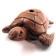 handcarved boxwood ojime bead of sea turtle