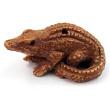 handcarved boxwood ojime bead of alligator