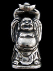 Laughing Hotei Buddha brass deity pendant, holding bowl overhead for receiving good fortune