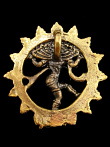 reverse view of Dancing Natraj brass deity pendant, showing bail on back