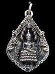 Naga Buddha brass deity pendant, sitting in meditation