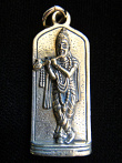 Krishna brass deity pendant, god of love and compassion playing his flute