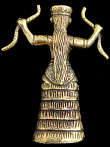 back of Snake Goddess brass deity statue, based on ancient Minoan figurines found in Crete