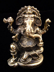 seated Ganesh brass deity statue, the remover of obstacles