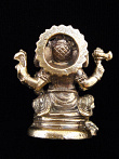 back of seated Ganesh brass deity statue, the remover of obstacles