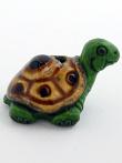 ceramic green turtle bead - handmade and painted in Peru