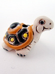 ceramic tan turtle bead - handmade and painted in Peru