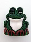 ceramic green frog bead - handmade and painted in Peru