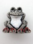 ceramic white frog bead - handmade and painted in Peru
