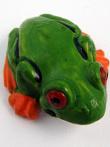 ceramic tree frog bead - handmade and painted in Peru