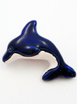 ceramic blue dolphin bead - handmade and painted in Peru