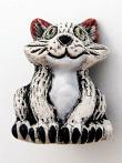 ceramic white cat bead - handmade and painted in Peru