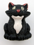 ceramic black cat bead - handmade and painted in Peru