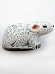 ceramic white mouse bead - handmade and painted in Peru