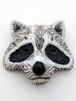 ceramic racoon face bead - handmade and painted in Peru
