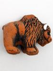 ceramic brown buffalo bead - handmade and painted in Peru
