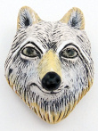 ceramic wolf face bead - handmade and painted in Peru