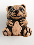 ceramic teddy bear bead - handmade and painted in Peru