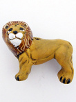 ceramic standing lion bead - handmade and painted in Peru