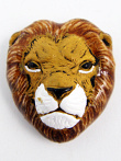 ceramic lion face bead - handmade and painted in Peru