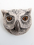 ceramic owl face bead - handmade and painted in Peru