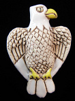 ceramic white eagle bead - handmade and painted in Peru