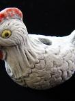 ceramic white hen bead - handmade and painted in Peru