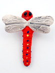 ceramic red dragonfly bead - handmade and painted in Peru