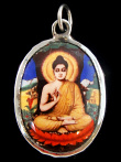 Buddha enamel deity pendant, the sage on whose teachings Buddhism was founded