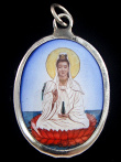 seated Quan Yin, goddess of compassion, enamel deity pendant
