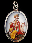 Krishna & Nandi enamel deity pendant