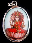 seated Lakshmi enamel deity pendant, the Goddess of abundance and prosperity