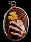 Praying Hands enamel deity pendant, a symbol of peace