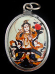 White Tara enamel deity pendant, representing qualities of compassion, health and healing