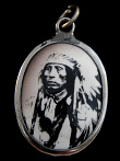 Chief Red Cloud enamel deity pendant, an inspirational Sioux Indian Chief