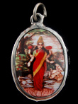 standing Lakshmi enamel deity pendant, the Goddess of abundance and prosperity