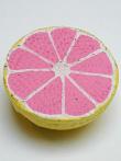 handmade and hand-painted Peruvian ceramic grapefruit bead