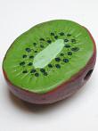 handmade and hand-painted Peruvian ceramic kiwi bead