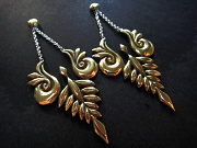 Handcrafted brass earrings with solid sterling silver earwires