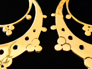 Handcrafted brass earrings with sterling silver earwires - closeup