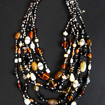 Glass and natural stone multi-strand Beaded Necklace in black and brown tones