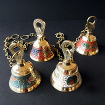 Decorative Enameled Brass Bells with chain shown in 4 available colors