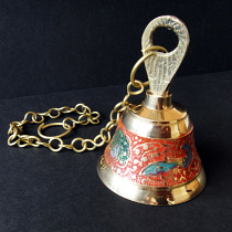 Decorative Enameled Brass Bell with chain ~ Orange option