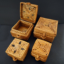Handwoven rattan baskets from Lombok, Indonesia showing variety in both large and small sizes